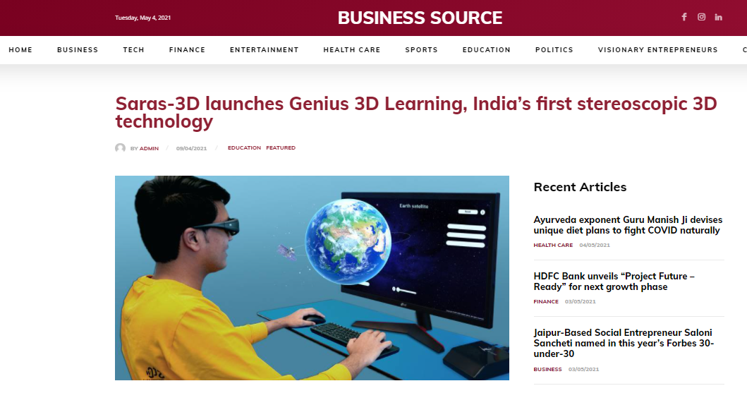 Business source : Saras-3D launches Genius 3D Learning, India's first stereoscopic 3D technology