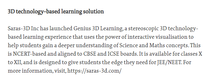 The Hindu : Launch of Genius 3D Learning by Saras-3D