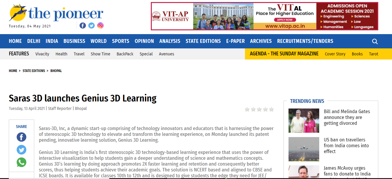 The Pioneer : Saras 3D launches Genius 3D Learning