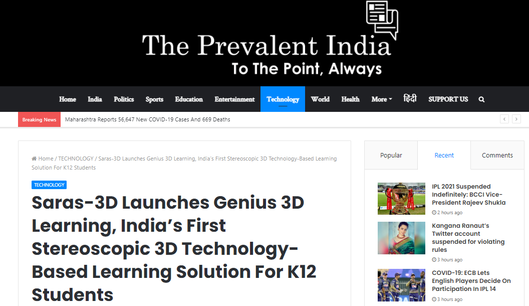The Prevalent India :  The unique solution focuses on learning by doing through interactive visualization, promotes 2X faster learning